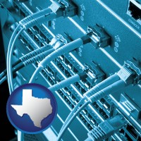 tx map icon and an optical fiber computer network